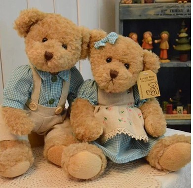 The head of the relevant section of the couple teddy bear doll 2pcs / lot 26cm (10.24 )push toy dolls best gift for child LH107<br><br>Aliexpress
