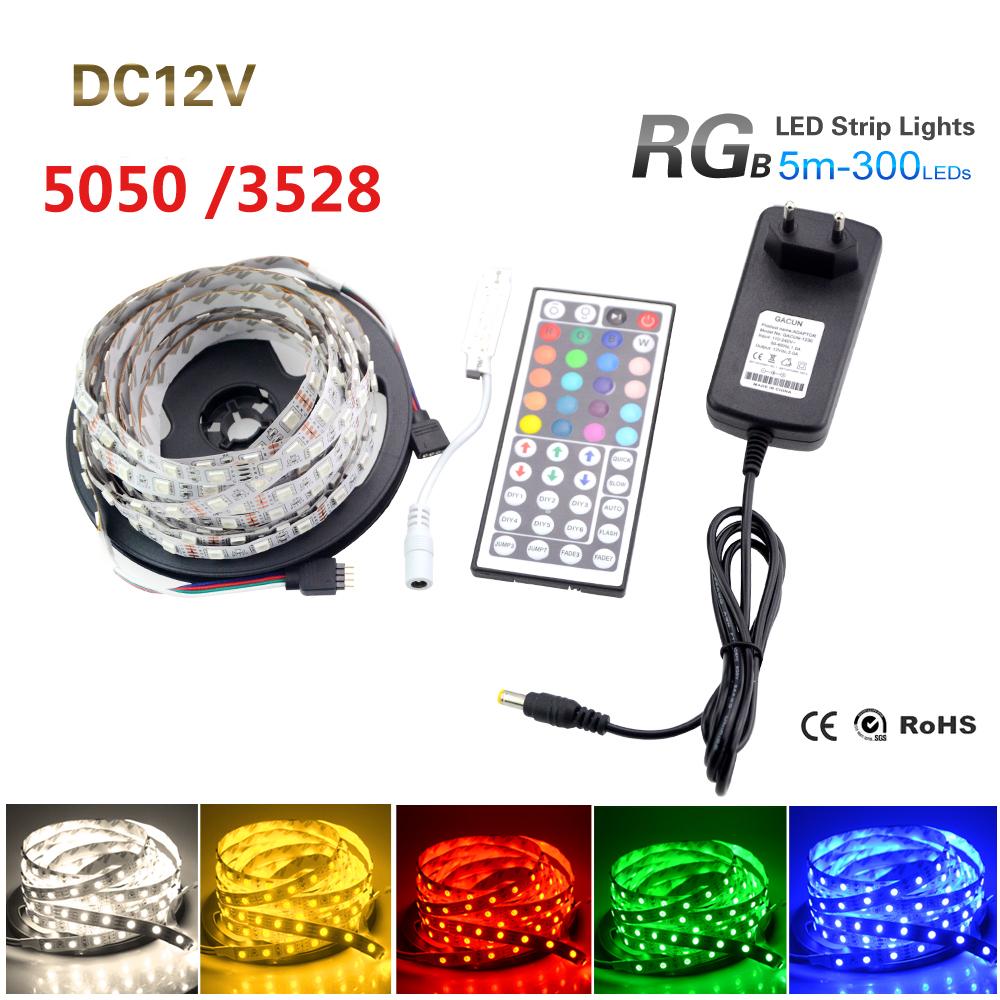5M RGB Led Strip Light 3528 5050 SMD 300Leds 60Led/M Fiexble Light Led Tape+44Keys IR Remote Controller+12V 2A Power Supply(China (Mainland))