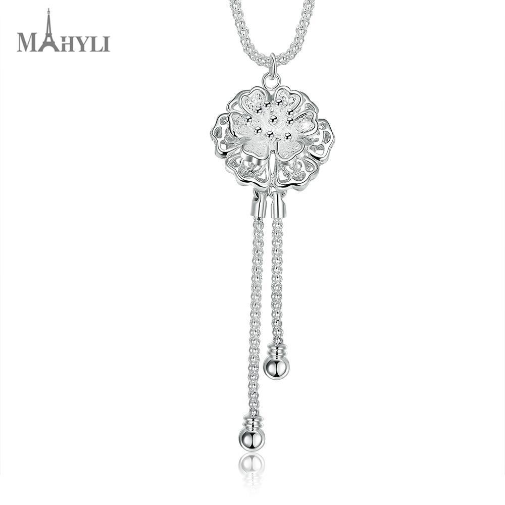 MAHYLI 925 silver lotus flower tassel Pendant white silver choker Necklace For women Men Women Stainless Steel wedding Jewelry(China (Mainland))