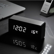 White LED wooden Board alarm clock+Temperature thermometer digital watch voice activated,Battery/USB gift small electronic clock(China (Mainland))