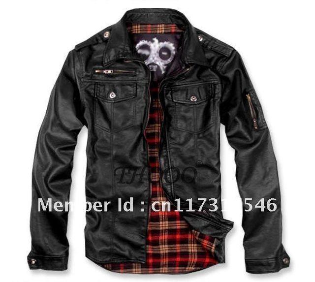 THOOO Brand New HOT GENTLEMEN'S classic fashion Slim Black pu leather Jacket Coat size M L XL 2XL 3XL 4XL 5XL