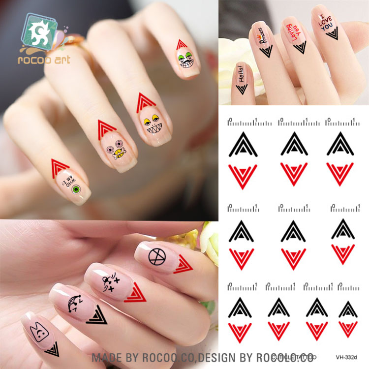 VH332d/Non-toxic Latest Temporary Nail Finger Cuticle Tattoos Nail Water Decals(China (Mainland))