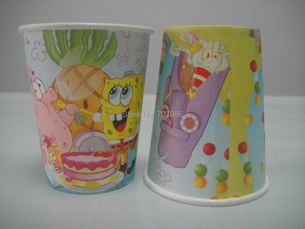 spongebob theme printing paper cup tableware for birthday,party drinking 50pcs(China (Mainland))