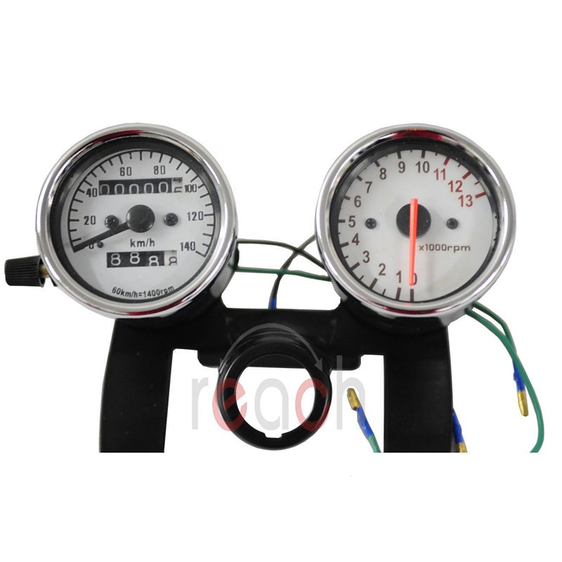 Universal Motorcycle Odometer & Tachometer Speedometer Gauge Set + Black Bracket(China (Mainland))