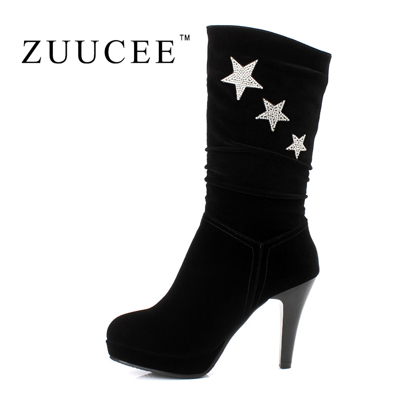Фотография ZUUCEE 2016 High heel Boots Fashion Women Boots Brand Mid-calf Women Shoes Black Zapatos Mujer Spring Winter Shoes Women