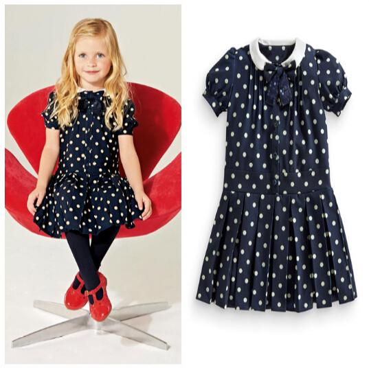 European American Style children cute dot girls Pleated dress casual princess party wear kids - baby's dream world store
