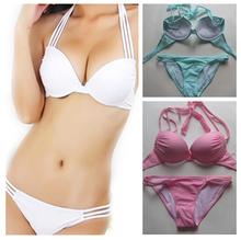 2015 halter top 2Pcs New hot swim bikinis set Bandeau Top Bottom Push Up Sexy women