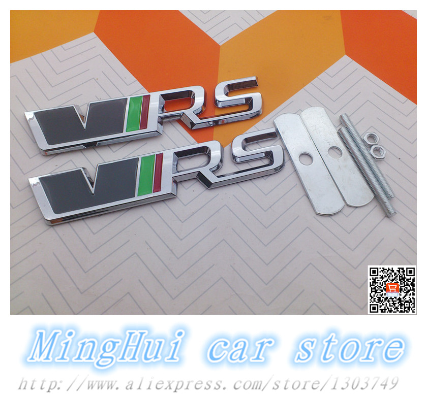 3D ABS metal car VRS grill emblem SKODA RS for Octavia Mk2 Racing Sport Front Hood Emblem Badge Auto accessories Free shipping(China (Mainland))