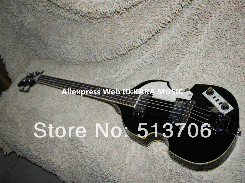 Black 4 Strings Violin Electric Bass Very Beauty Guitars Best high quality Free Shipping(China (Mainland))