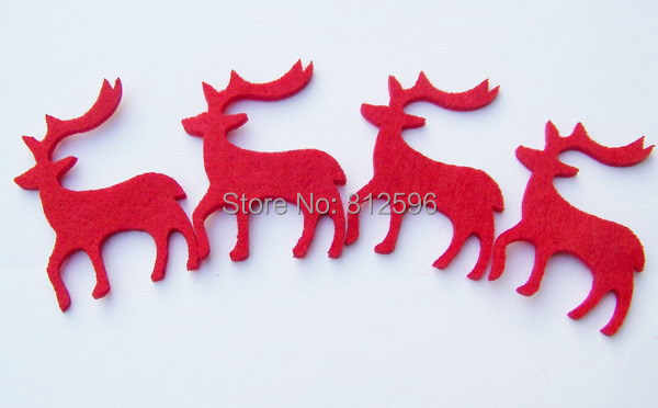 Free Shipping 50pcs 6cm Red Felt Christmas Reindeer Decoration 2016 New Fashion Laser Cut Crafts Ornaments Wholesale for Party(China (Mainland))