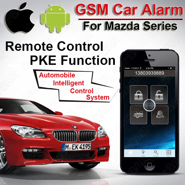 IOS Android PKE GPS GSM Car Alarm for Mazda Car Engine Push Start Button Keyless Entry Fence Speed SMS Shock Alarm CARBAR(China (Mainland))