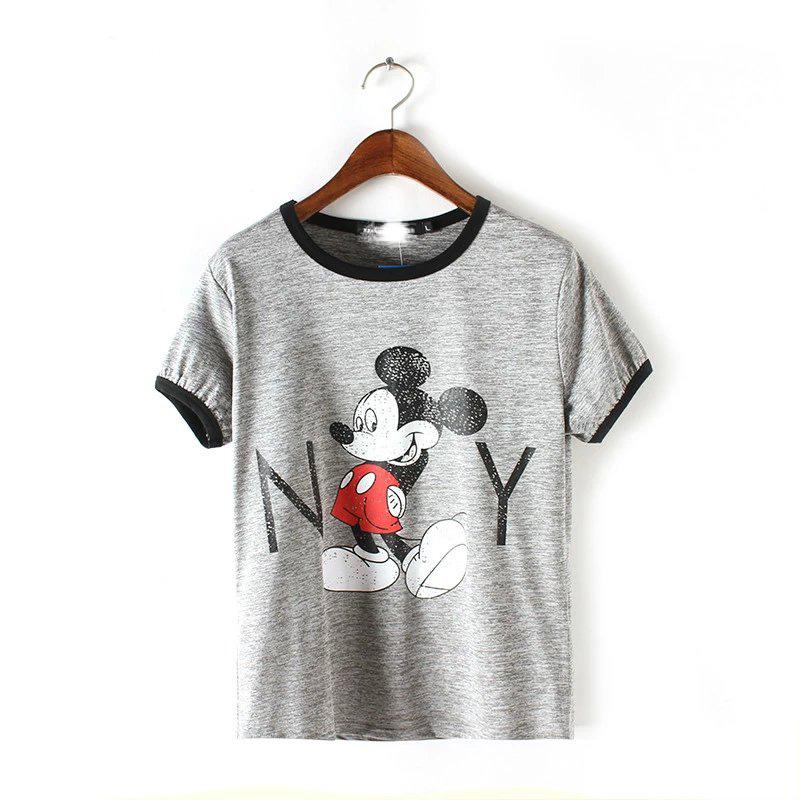 summer new Mitch NY letter edge short navel T-shirt Color matching Slim all-match fashion t-shirts Sleeve head Mickey T shirt(China (Mainland))