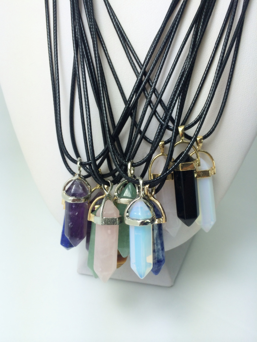 2015 NEW Women Casual Natural Stone Onyx Hexagonal Point Black Leather Cord Rope Choker Charm Pendant Healing Necklace Men - fengerone store