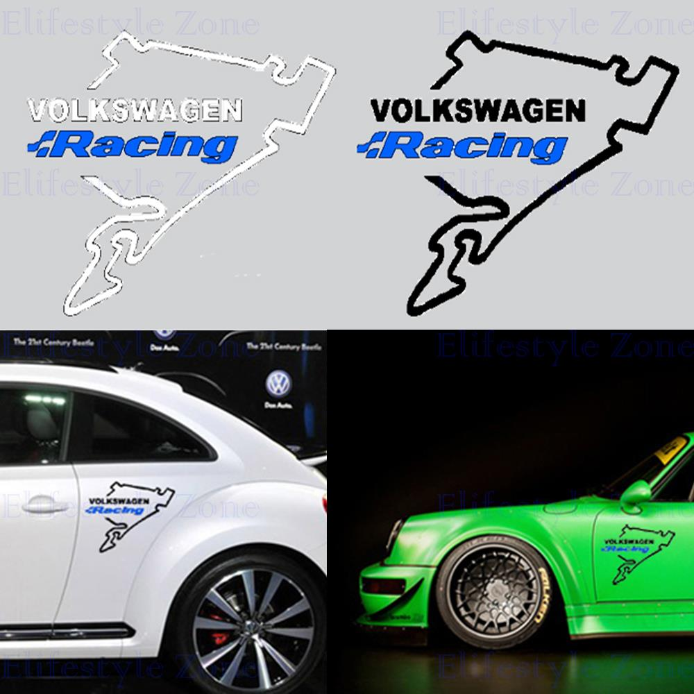 Car full body sticker design - 10 X Newest Design Car Body Stickers Car Decal Volkswagen Racing Nurburgring For Volkswagen Vw Golf Touareg Tiguan Jetta Sagitar