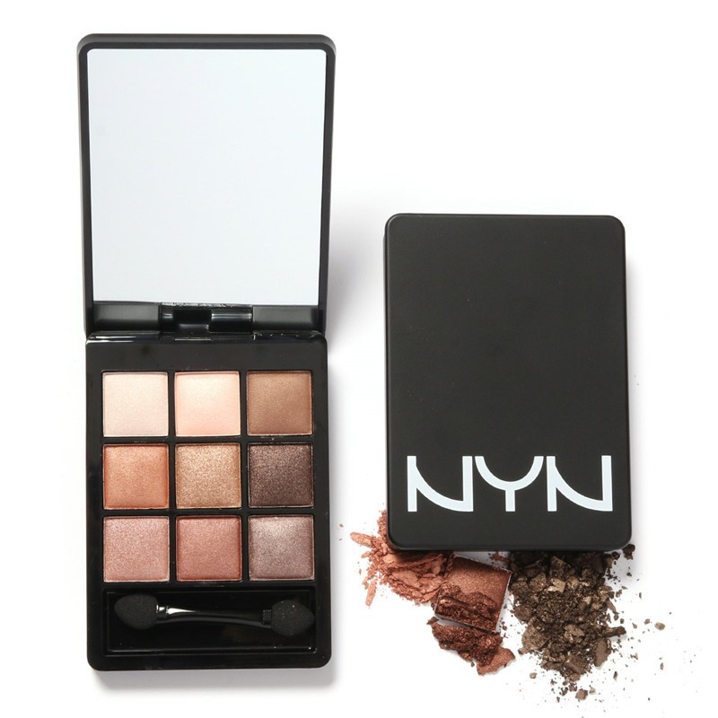 9 Colors Portable Naked Makeup Eye Shadow Palette NYN Gliter Eyeshadow Maquillage + Stick + Mirror EY026(China (Mainland))