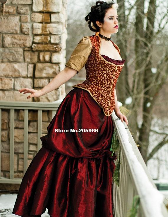 Custom made steampunk bustle dress taffeta or silk for Steampunk corset wedding dress