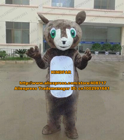 Vivid Brown Bear Kangaroo Roo Mascot Costume Cartoon Character Mascotte White Stomach Projecting Nose Thin Arms ZZ367 Free Ship(China (Mainland))