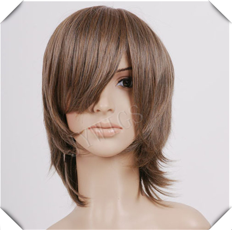 Medium Long Brown Synthetic Women Wig Sexy Costume For Lady Heat Resistant Hair Anime Party Cosplay(China (Mainland))
