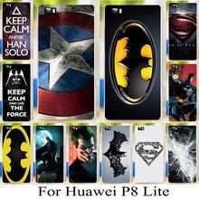 Бэтмен супермен кожи шаблон оболочки чехол для Huawei Ascend P8 Lite 5 » капитан американской твердый переплет телефон чехол
