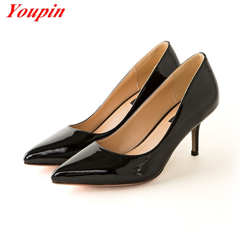 Nude pink /Dark red /Black Heels 2016 Full Grain Leather Shallow Mouth Banquet Wedding Shoes Genuine Leather Office Lady Shoes