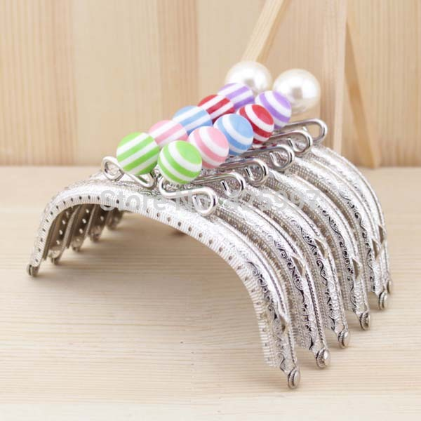 Freeshipping Stripe lollipop Candy bead Metal Purse frame 12.5CM knurling Small Crown arc-shaped silver Kiss Clasp 6pcs/lot(China (Mainland))