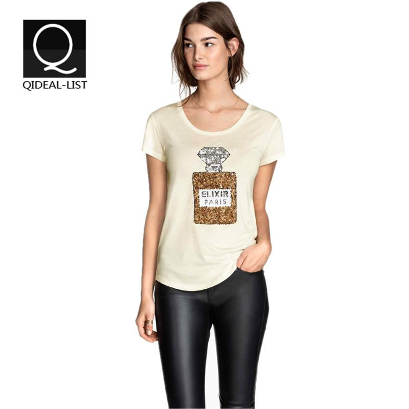 Qideal-L 2015 New Summer Style Fashion ELIXIR PARIS Letter Printed Perfume Bottles Sequins T Shirt Women Tops and Tees Tshirt(China (Mainland))