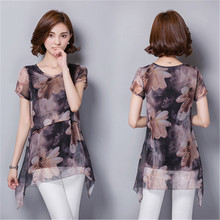 Woman Summer Silk Blouses and Tops Floral Print Womens Chiffon Tops Long Blouse Plus size M-4XL Casual Fashion Loose top