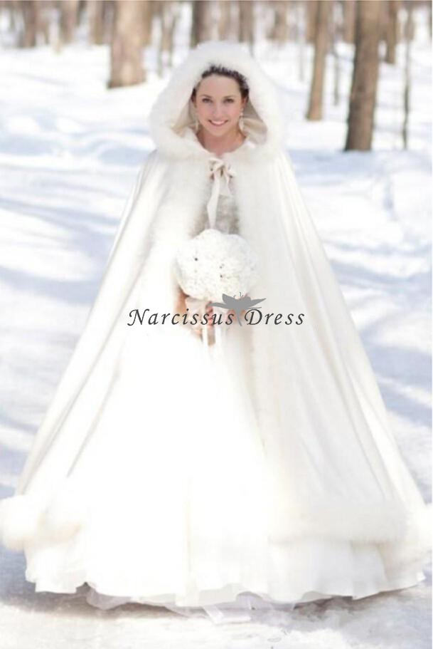 Aliexpress com buy winter snow white wedding cloak cape hooded with