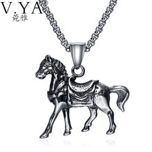 V.YA Horse Pendant Necklaces Women 55cm Trendy Style Link Chain Stainless Steel Necklace for Female Men Jewelry(China (Mainland))