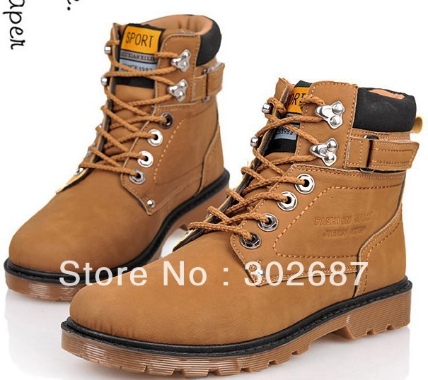 Men Fashion Sneakers High Shoes Round Head Military Boots Martin Boots Solid Design Free Shipping 1 Pair