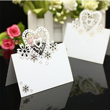 50pcs Laser Cut Paper Cup Loveheart Wine Glass Card Name Place Escort Card for Wedding Table Card Christmas Birthday Party Decor