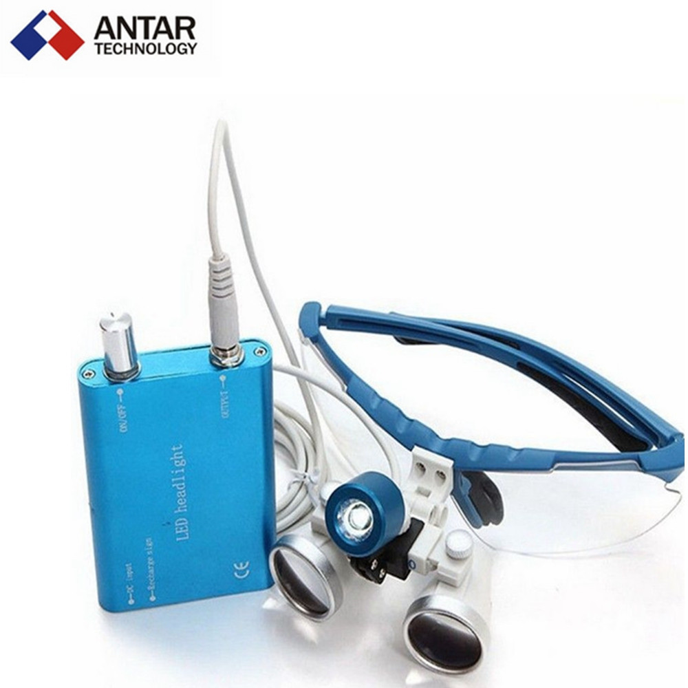 AT0427 Dental Equipment Surgical dental glasses 3.5X 420mm +LED Head Light Lamp dental lab BLUE AA+ Medical dental Loupes(China (Mainland))