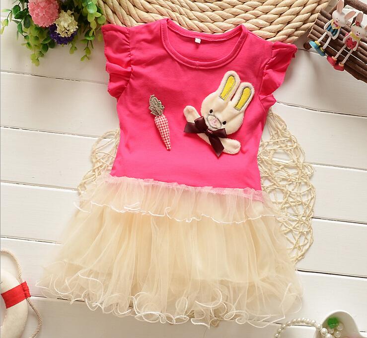 Children's Wear 2015 Summer Girl Cartoon dresss Girls baby t-shirt Short sleeved two piece suit Lovely dress(China (Mainland))