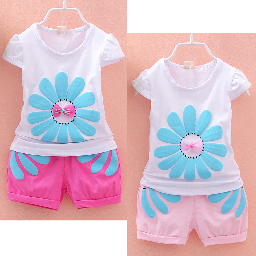 Kids Baby Girls Summer Clothes Sunflower TShirt Tops + Pink Pants Outfits Set 1-4Year(China (Mainland))