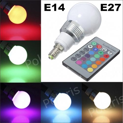 Wholesale  new 16 Color  E14 E27 3W RGB LED Light Bulb Lamp AC85V~265V  IR Remote Control fashion lighting shows (China (Mainland))