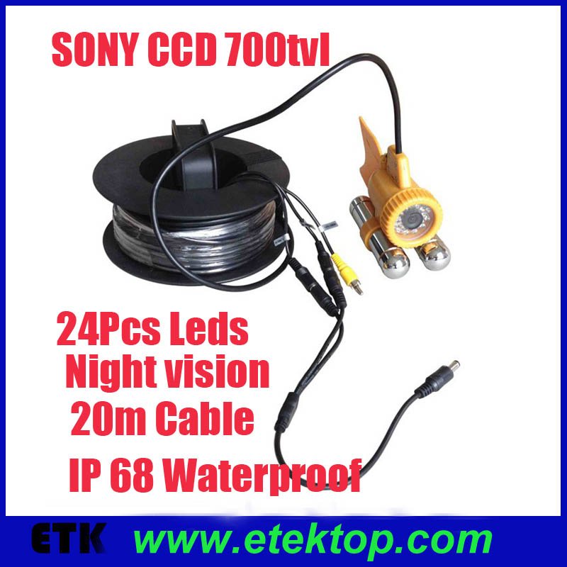 20m Cable CCD 700TVL Underwater Camera Reviews Video Fishing Fish Finder W/ 24Pcs Led Lights Night Vision(China (Mainland))
