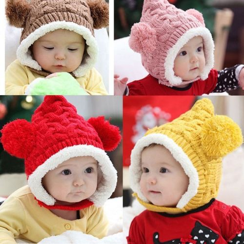 Lot 10 pcs Kid Baby Knitting Beanie Cap Hat Dual Balls Girl Boys Wool Winter Warm Crochet(China (Mainland))