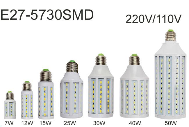 Free shipping E27 Led Lamps 5730 220V 7W 12W 15W 25W 30W 40W 50W LED Lights Corn Led Bulb Christmas Chandelier Candle Lighting(China (Mainland))