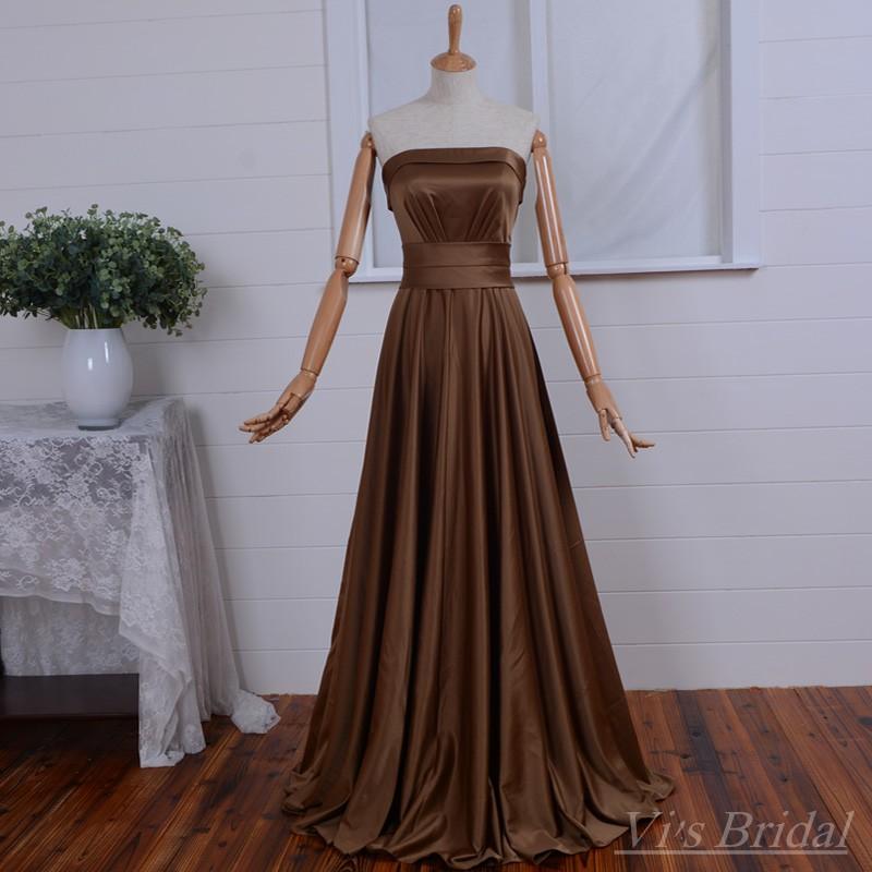 Elegante marrón largo de dama de Honor vestidos banquete de boda Simple vestido sin tirantes de raso para criadas de Honor FC041(China (Mainland))