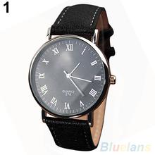 Men s Roman Numerals Faux Leather Band Quartz Analog Business Wrist Watch 2MPW 2WAK
