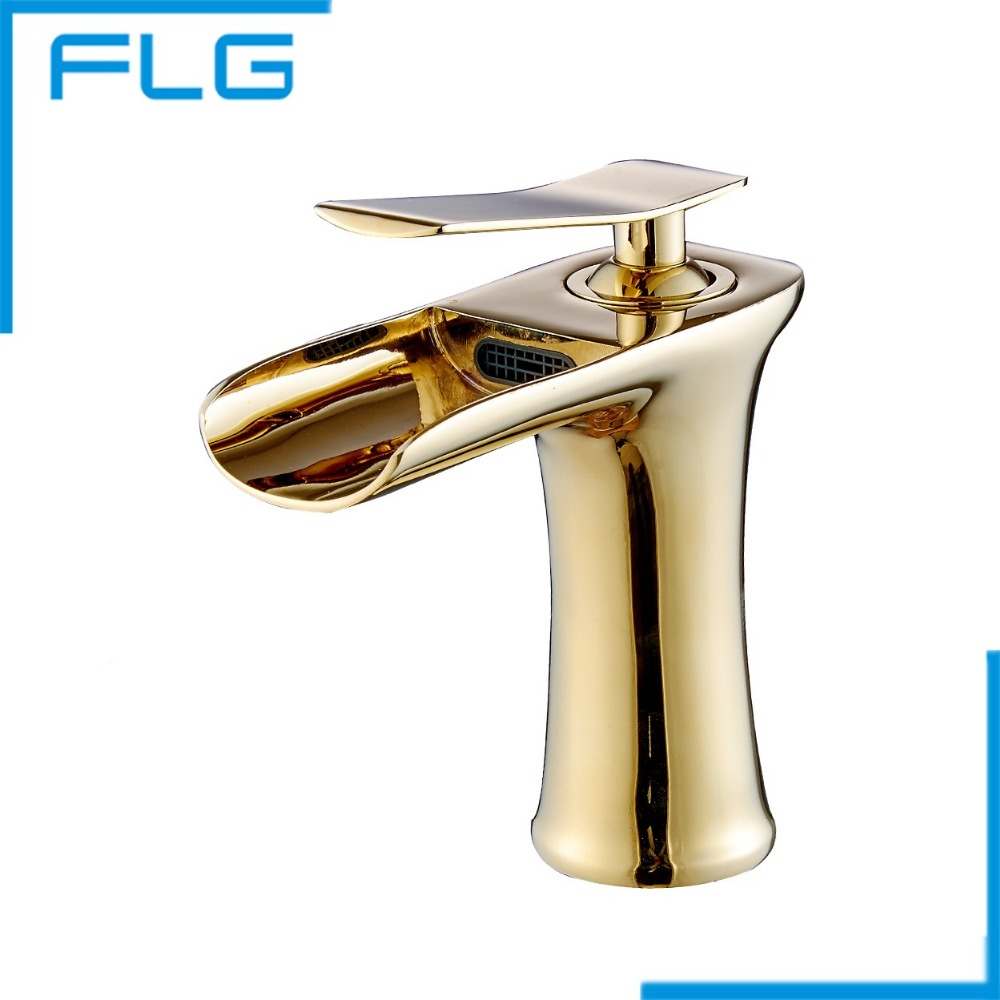 Gold Finishing Waterfall Basin Water Mixer Faucet for Bathroom, Mixer Tap Single Handle and Single Hole(China (Mainland))