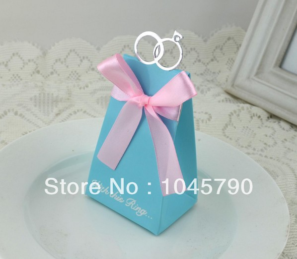 Free Shipping 20X European Blue Diamond Ring Candy Boxes With Pink Ribbon Groom Bridal Wedding Favours Gift Boxes Candy Box(China (Mainland))