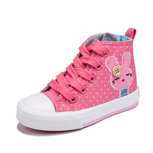 Children's High Top Canvas Shoes With Polka Dot Girls Autumn Cartoon Style High Quality Casual Shoes(China (Mainland))