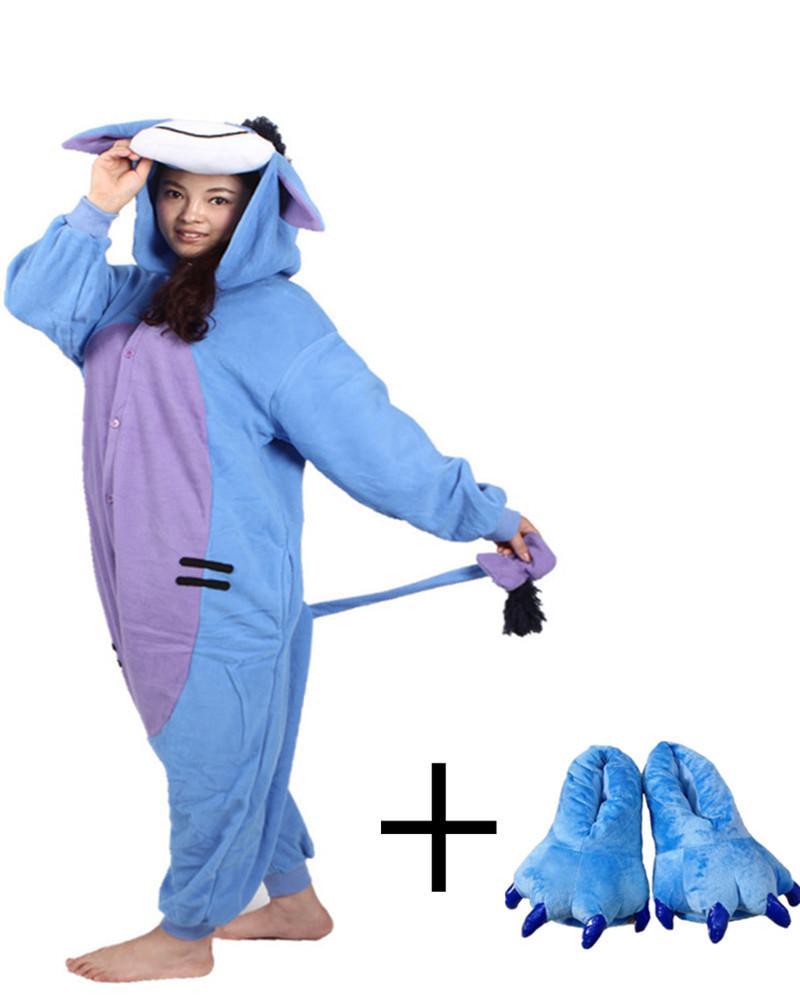 Blue Donkey Onesie Chinese Market Online Long Sleeve Novel Paw Shoe Girls Jumpsuit Pyjamas Long Tail Design Animal Pajamas Whole(China (Mainland))