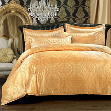 2014 New silk Tencel satin Jacquard bed linen bedding set Queen king size bedclothes duvet cover set noble High Quality(China (Mainland))