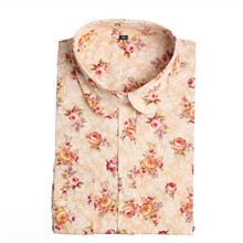 Women Blouses Turn Down Collar Floral Blouse Long Sleeve Shirt Women Camisas Femininas Women Tops And Blouses 2015 New Fashion(China (Mainland))