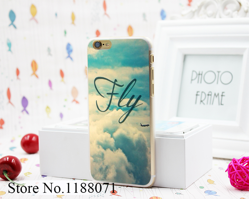 Fly Clear blue Sky Airplane Design Hard Clear Skin for iPhone 6 6s 6 plus Case Cover(China (Mainland))