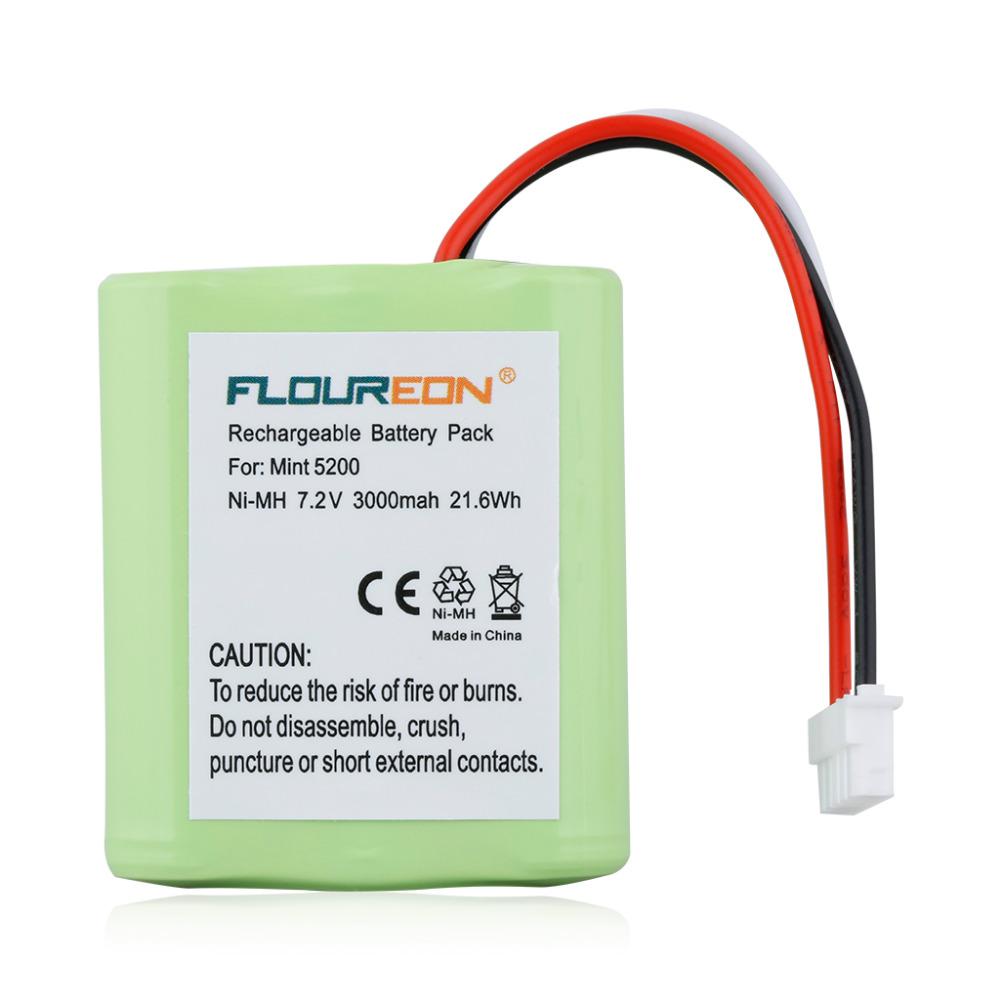 For Irobot Mint Battery Floureon 7.2V 3000mAh Vacuum Cleaner Battery Mint 5200 for Braava 380t for Irobot 5200B 5200C(China (Mainland))
