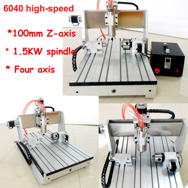 updated high-speed  cnc router 6040 1.5KW spindle+2.2KW VFD /  4axis + upgrade 100mm Z axis four axis engraver engraving machine