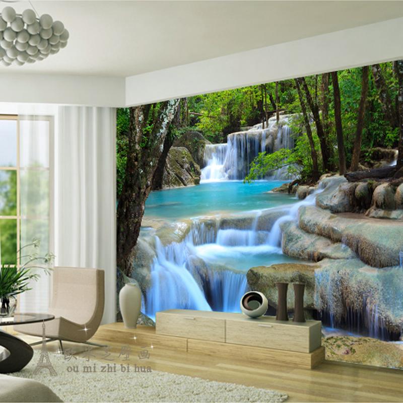 modern fresh green woods stream river wallpaper for walls 3 d wallpaper bedroom large living. Black Bedroom Furniture Sets. Home Design Ideas